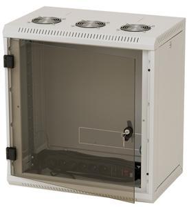 Nástěnný rack RUA 15U/600mm, plechové dveře, odním.bočnice