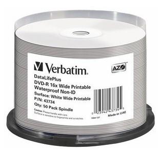 VERBATIM DVD-R(50-Pack)Spindle/Printable/16x/4.7GB/Waterproof//NON-ID