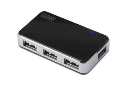 Digitus USB 2.0 hub, Vysokorychlostní rozbočovač 4-porty, černý, vč. napájecího zdroje