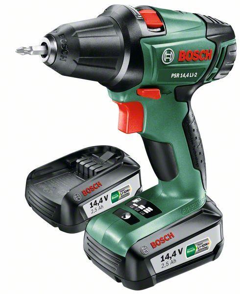 Aku vrtací šroubovák Bosch PSR 14,4 LI-2 (2x aku - 2,5Ah, nabíječka), 060397340P