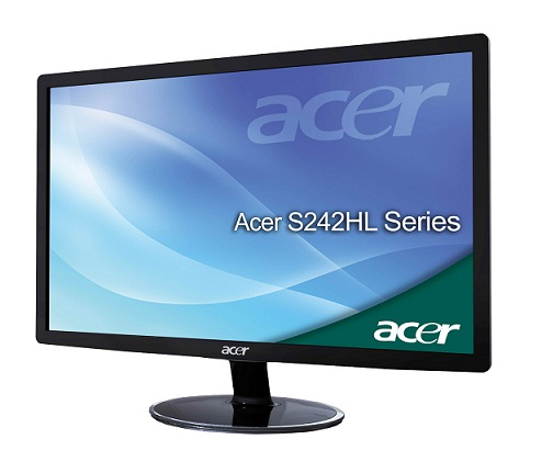 "Acer LCD S242HLCbid 24"" LED, 1920 x 1080, 100M:1, 250cd/m2,, 5ms, DVI, HDMI, Black, SLIM Design"