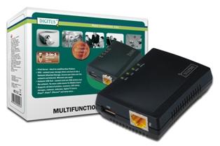 DIGITUS 1-Port. USB 2.0 - Multifunkční Síťový server