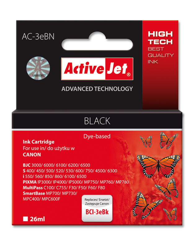 ActiveJet Ink cartridge Canon BCI-3e Bk - 26 ml AC-3eBk