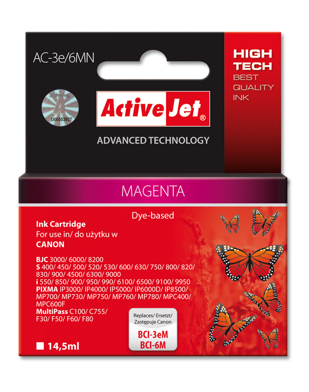ActiveJet Ink cartridge Canon BCI-3e Magenta - 14, 5 ml AC-3e/6M