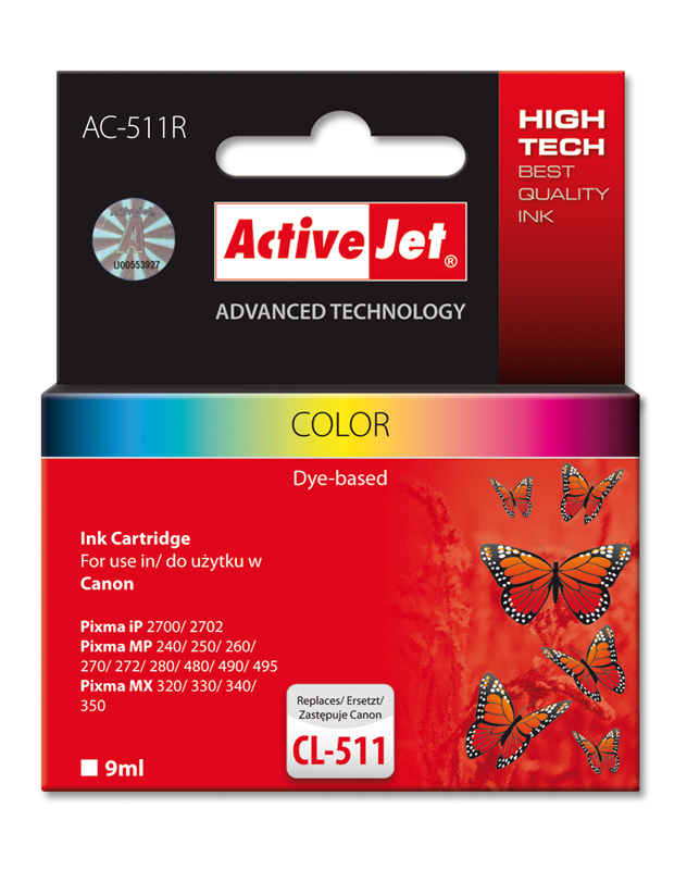 Inkoust ActiveJet AC-511 | Color | 9 ml | Refill | Canon CL-511