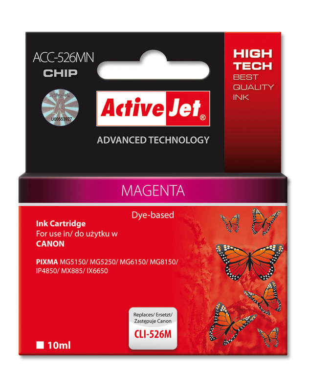 ActiveJet ink cartr. Canon CLI-526M - 10 ml - 100% NEW (WITH CHIP) ACC-526M