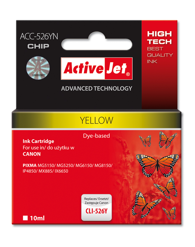ActiveJet ink cartr. Canon CLI-526Y - 10 ml - 100% NEW (WITH CHIP) ACC-526Y