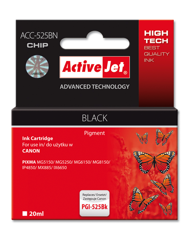 ActiveJet ink cartr. Canon PGI-525BK - 20 ml - 100% NEW (WITH CHIP) ACC-525Bk