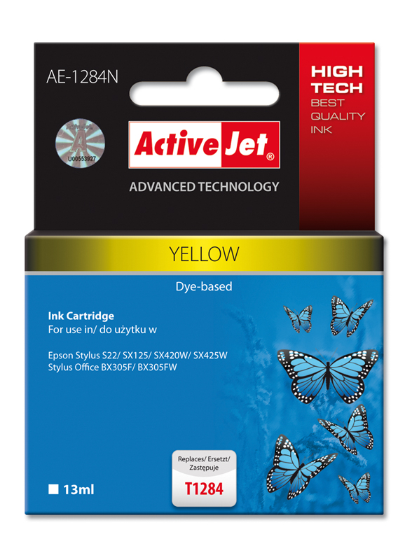 ActiveJet ink cartr. Eps T1284 Yellow S22/SX125/SX425 100% NEW AE-1284