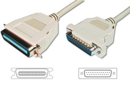 Digitus kabel pro tiskárnu DB25 / Centronix36, 1,8m, IEEE 1284