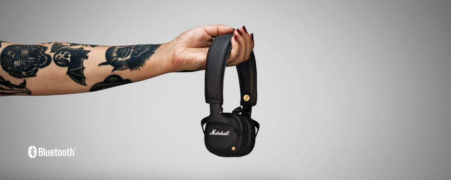 Marshall Mid Bluetooth Black, uzavřená bezdrátová sluchátka s mikrofonem a ovladačem