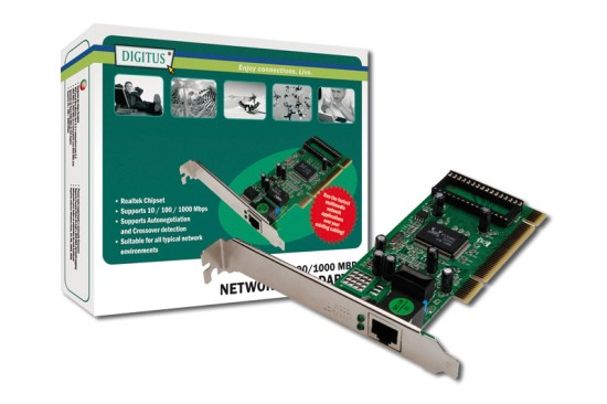 Digitus Gigabit PCI Card 10/100/1000 Mbit 32-bit Realtek Low Profile Bracket Realtek RTL8169SC Chipsatz