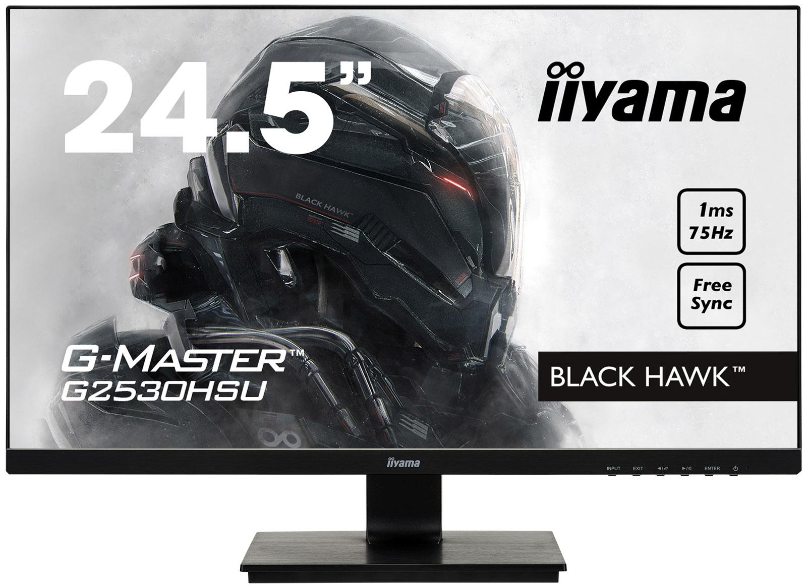 """25""""LCD iiyama G-Master G2530HSU-B1-FreeSync,1ms,250cd,75Hz,1000:1(12M:1ACR),USB,VGA,DP,HDMI,repro"""