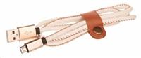 CELLFISH univerzální kabel kožený, micro USB, bílá