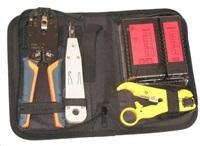 Sada nářadí (kleště RJ10, RJ11, RJ12, RJ45 bez ráčny, boxer, stripovač, konektory, tester) v textilním pouzdře