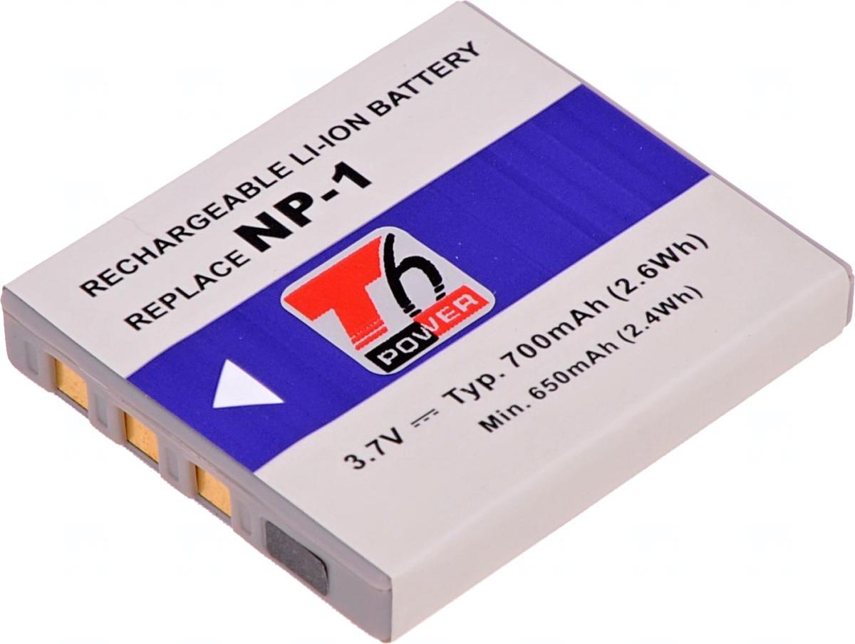Baterie T6 power NP-1, SLB-0837, 700mAh, šedá
