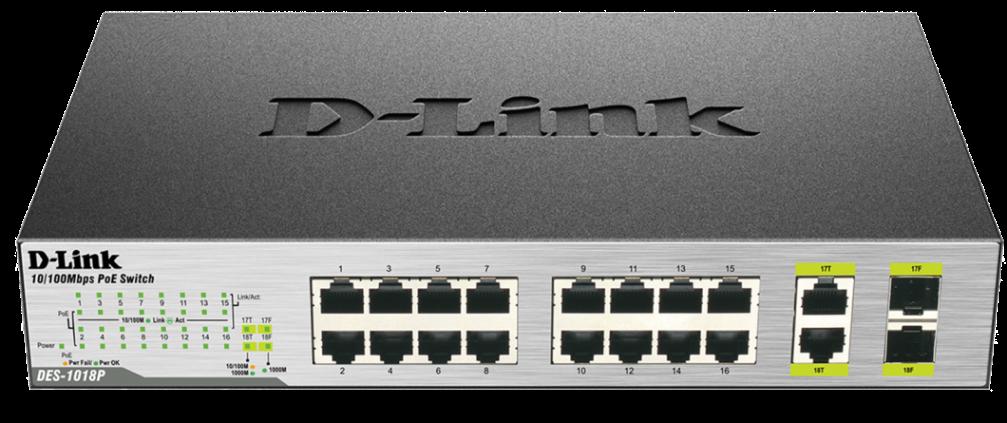D-Link DES-1018P 16x100+2xGbit+2xSFP Smart