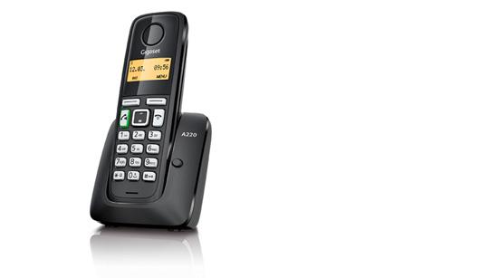 SIEMENS Gigaset A220-BLACK - DECT/GAP bezdrátový telefon, barva černá