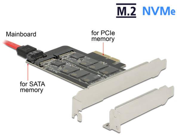 Delock PCI Express x4 Karta > 1 x interní M.2 Key B + 1 x interní NVMe M.2 Key M - format low profile