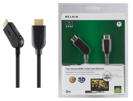 BELKIN HDMI 1.4 kabel Gold, 180° boční, 2 m
