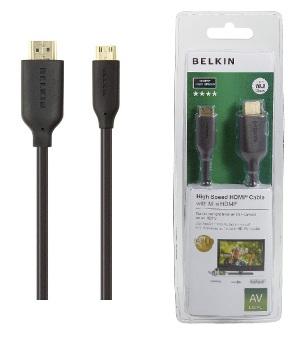 Belkin kabel HDMI/mini-HDMI HighSpeed, zlacený - 1m