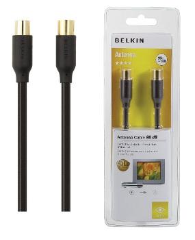 BELKIN 90dB anténní koax kabel Gold (M/F), 2 m