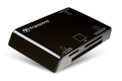 TRANSCEND Card Reader P8 + mini USB kabel, USB 2.0, Black