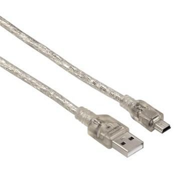 Hama USB 2.0 kabel, typ A - mini B, 3m, transparentní, blistr