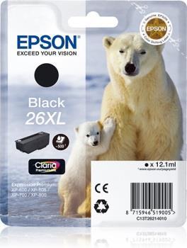 Inkoust Epson T2621 XL black Claria   12,2 ml   XP-600/700/800