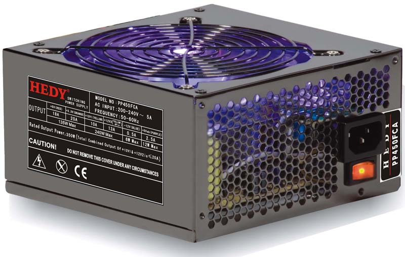 HEDY PP500FCA - ATX 2.2, OV protect, 2xSATA, 1xPCIe, 14 cm FAN, 450W, pasivní PFC, BOX