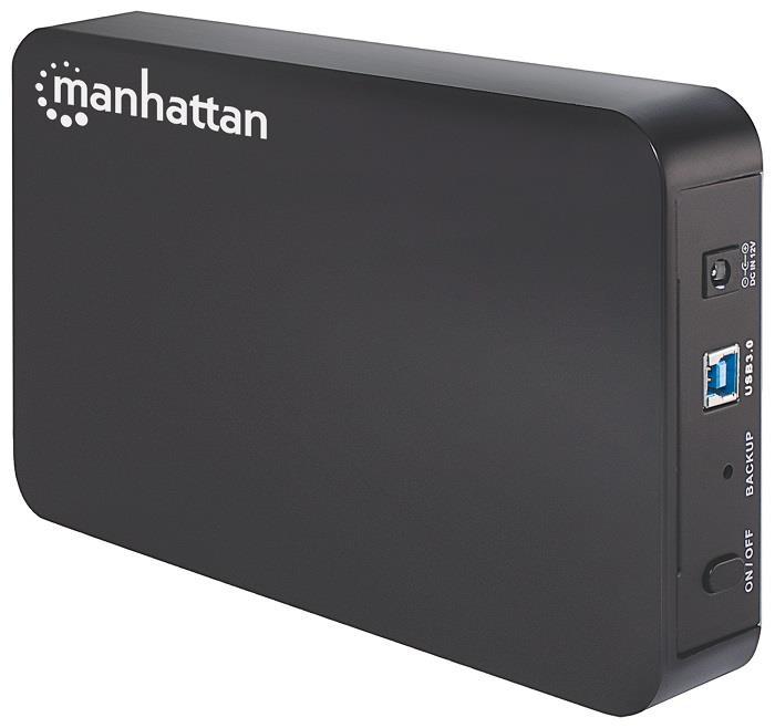"""MANHATTAN USB 3.0 3,5"""" SATA plastikový box na externí HDD, černý"""