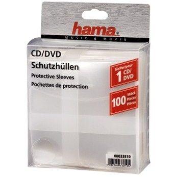Hama CD/DVD Protective Sleeves, Pack of 100