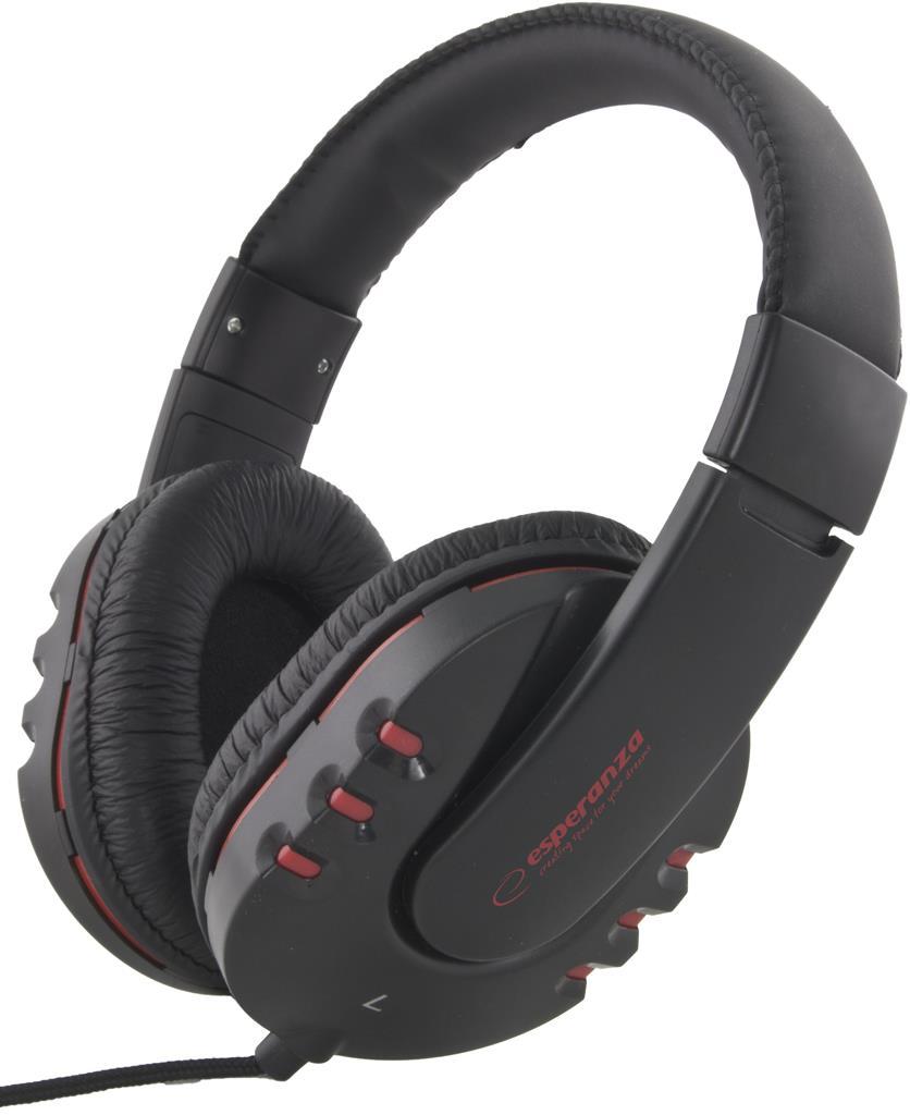 Esperanza EH142K MAUI Stereo sluchátka, ovl. hlasitosti, 3m, černá