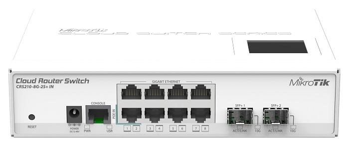MikroTik CRS210-8G-2S+IN L5 8xGig LAN, 1xSFP/SFP+, 1xSFP+ LCD, Desktop case