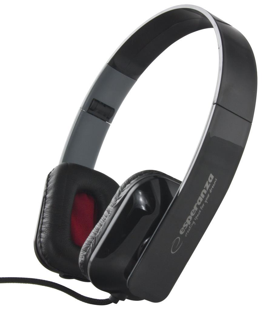 Esperanza EH143K ARUBA Stereo sluchátka, skládací, ovl. hlasitosti, 3m, černá