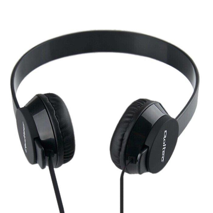 Qoltec Stereo sluchátka s mikrofonem, ovládání, 1.2m, černá