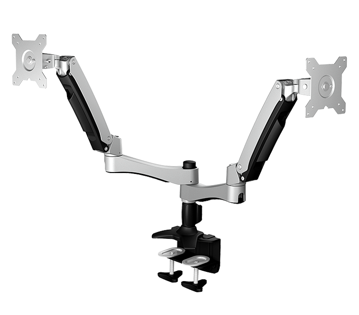 IcyBox Full metal holder for two screens up to 24'' with a desk mounted base