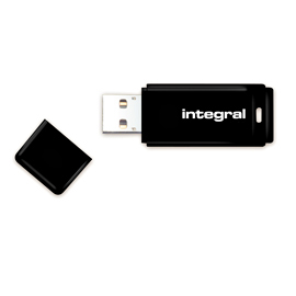 Integral USB 16GB Black, USB 2.0 with removable cap