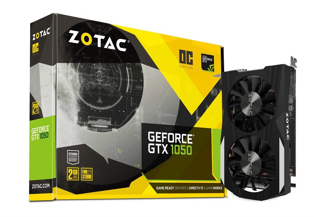 ZOTAC GeForce GTX 1050 OC, 2GB GDDR5 (128 Bit), HDMI, DVI, DP