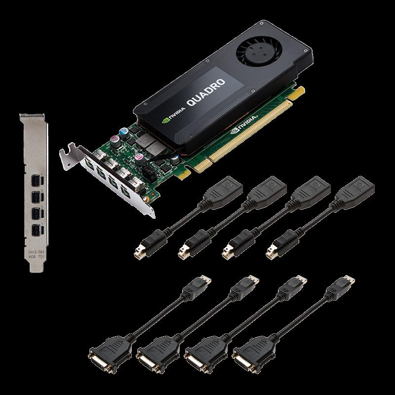 PNY NVIDIA Quadro K1200 DVI, 4GB GDDR5 (128 Bit), 4xminiDP (4xminiDP to DVI), LP