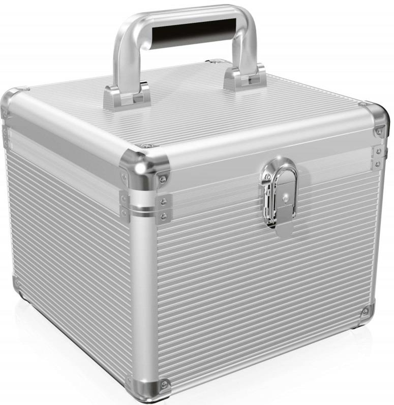 Icy Box Aluminium suitcase for 2.5'' und 3.5'' HDDs, Silver