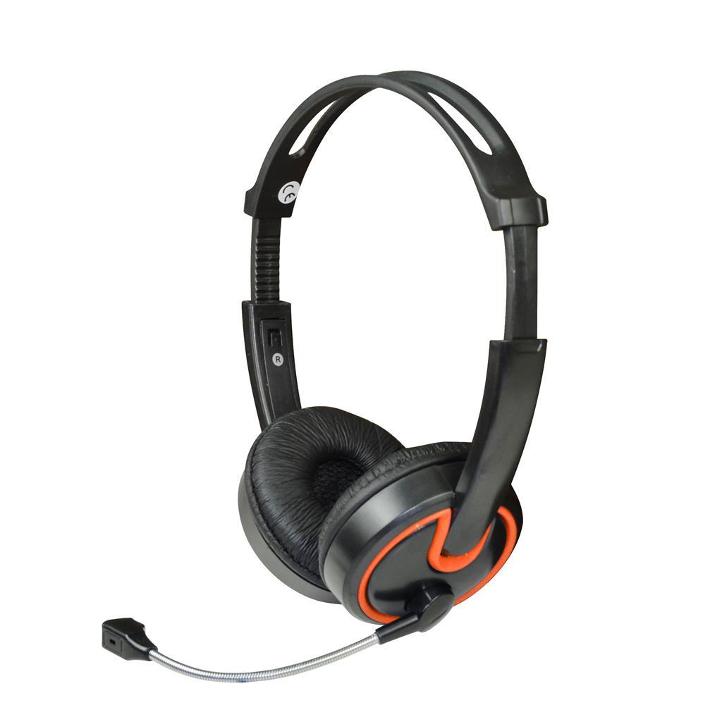 MSONIC Sluchátka s mikrofonem,na uši, ovládání hlasitosti MH563KO černá-oranžová