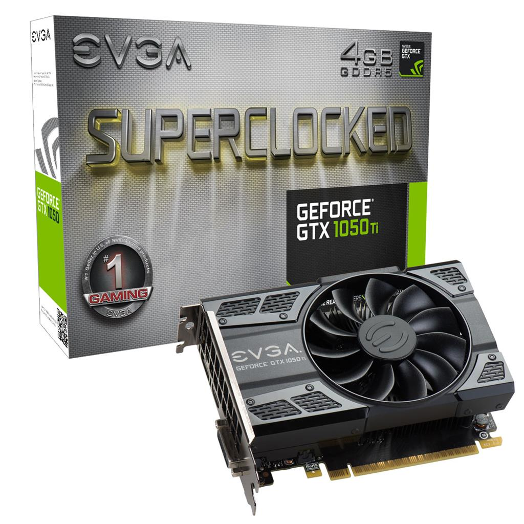 EVGA GeForce GTX 1050Ti SC Gaming, 4GB, HDMI2.0b, DisplayPort1.4 and DualLinkDVI