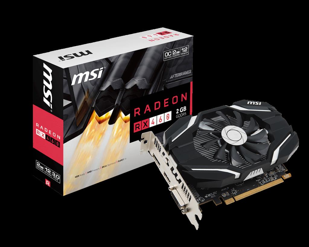 MSI Radeon RX 460 2G OC, 2GB, OC/DL-DVI-D/HDMI/DP/ATX