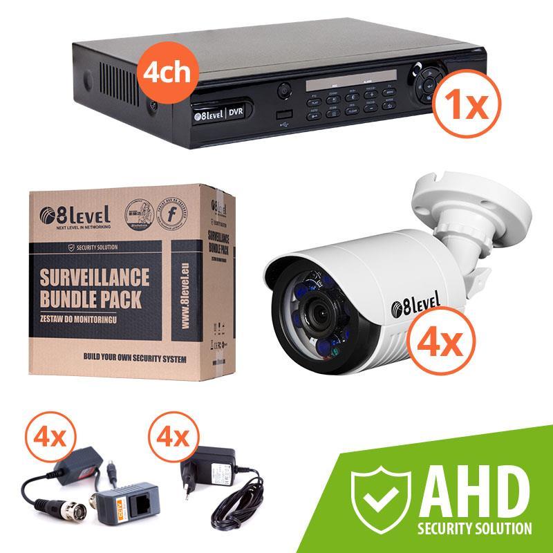 8level KIT outdoor AHD camera 4xAHB-E720-363-3 1xDVR-AHD-1080P-041-1