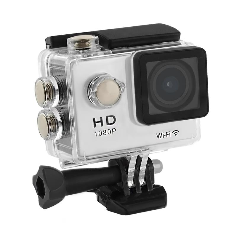 2.0'' Waterproof Sports Camera Full HD QOLTEC for helmet/bike | Wi-Fi | silver