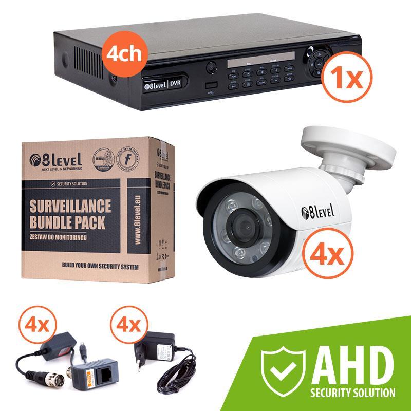 8level KIT outdoor AHD camera 4xAHB-E1080-363-1 1xDVR-AHD-1080P-041-1
