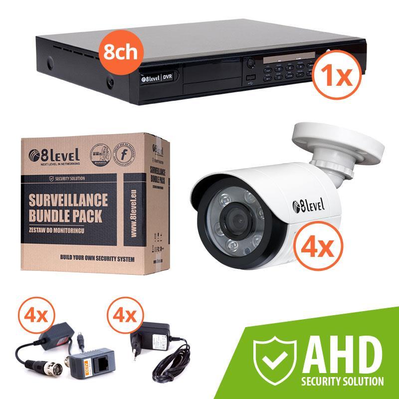 8level KIT outdoor AHD camera 1xDVR-AHD-1080P-081-1 4xAHB-E1080-363-1 2MP
