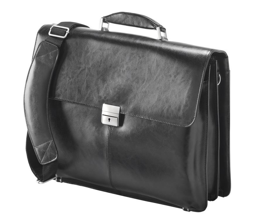 Falcon Leather Laptop Briefcase 16'' Black