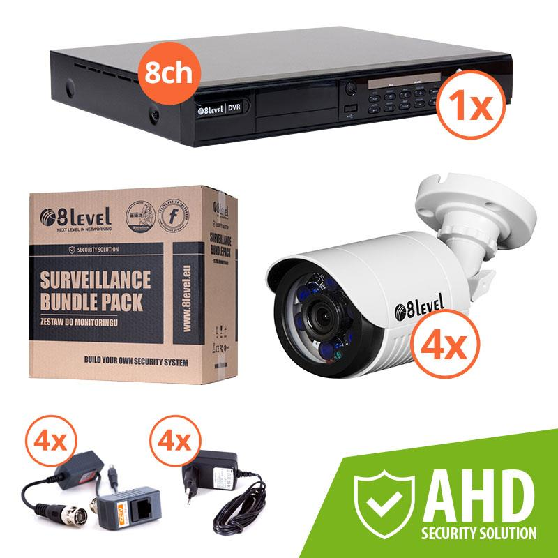 8level KIT outdoor AHD camera 4xAHD-E720-363-3 1xDVR-AHD-1080P-081-1